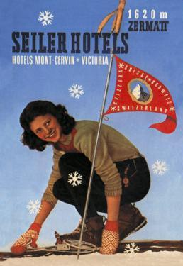 Seiler Hotel: Woman Adjusting Skis