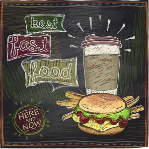 Best Fast Food Chalkboard Design with Hamburger, French Fries and Coffee by Selenka
