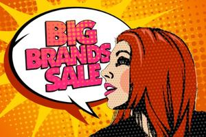 Big Brands Sale Design with Speaking Girl and Bubble Talk in Pop-Art Style by Selenka
