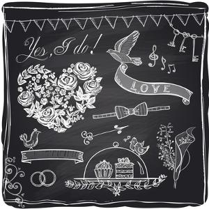 Chalk Wedding Hand Drawn Graphic Set on a Chalkboard by Selenka