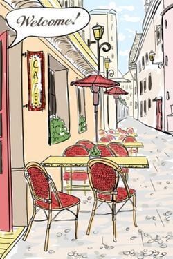 Street Cafe In Old Town Sketch Illustration by Selenka