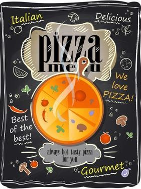 Vintage Chalk Pizza Menu by Selenka