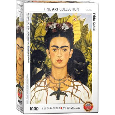 Self-Portrait with Thorn Necklace and Hummingbird by Frida Kahlo 1000 Piece Puzzle