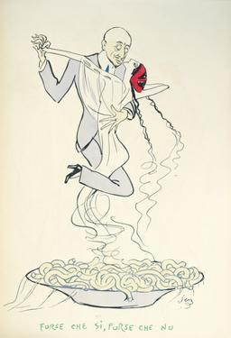 Gabriele D'Annunzio (1863-1938) Dancing with a Woman Above a Plate of Maccheroni (Colour Litho) by Sem