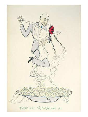 Gabriele D'Annunzio (1863-1938) Dancing with a Woman Above a Plate of Maccheroni (Colour Litho)