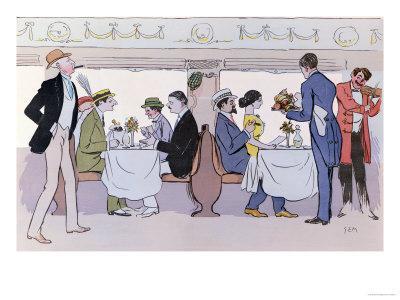 Restaurant Car in the Paris to Nice Train, 1913