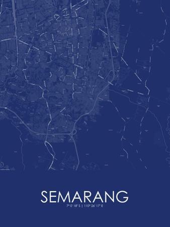 Semarang, Indonesia Blue Map
