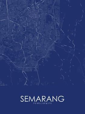 Semarang, Indonesia Blue Map