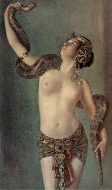 Semi-Naked Egyptian Woman with Python