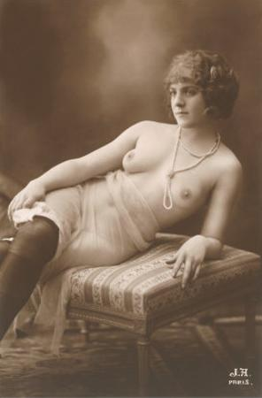 Semi-nude Woman with Dark Stockings and Pearls