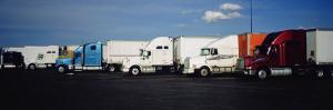 Semi-Trucks Parked on a Road, Ohio, USA