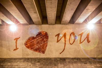 I Love You with Heart Painted as Graffiti by Semmick Photo