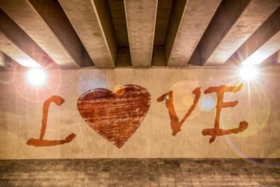 The Word Love with Heart Painted as Graffiti by Semmick Photo