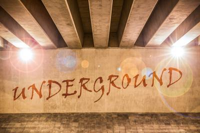 The Word Underground Painted as Graffiti by Semmick Photo
