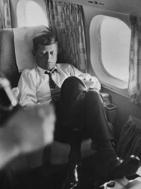Sen. John F. Kennedy on His Private Plane During His Presidential Campaign