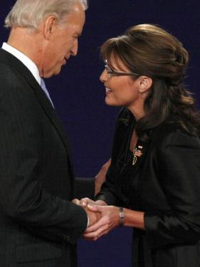 Senator Joe Biden and Governor Sarah Palin Shake Hands before the Start of Vice Presidential Debate