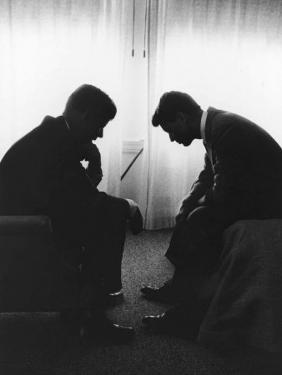 Senator John F Kennedy Conferring with His Brother and Campaign Organizer Bobby Kennedy