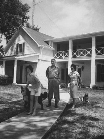 Senator Lyndon B. Johnson W. Family and Pets at Home on Ranch
