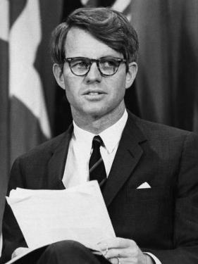 Senator Robert F. Kennedy Waits to Address 14,500 Students, Kansas State University, March 25, 1968