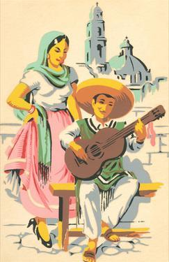 Senorita and Guitarist from Old Mexico
