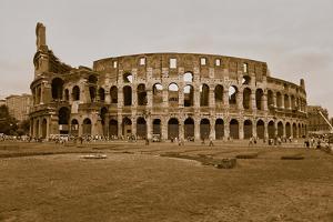 Sepia image of the Colosseum or Roman Coliseum, originally the Flavian Amphitheatre, an elliptic...