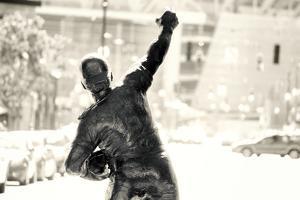 Sepia Statue of Johnny Bench in Cincinnati