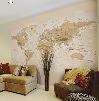 Sepia World Wall Mural