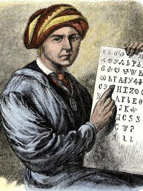 Sequoya Holding His Cherokee Alphabet
