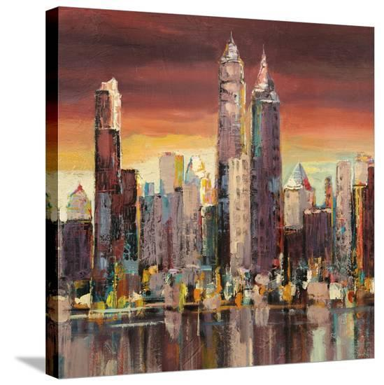 Sera su New York (detail)-Luigi Florio-Stretched Canvas Print
