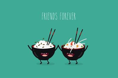 Funny Rice Noodles and Rice in Black Plates. Friend Forever. Vector Illustration. Comic Character by Serbinka
