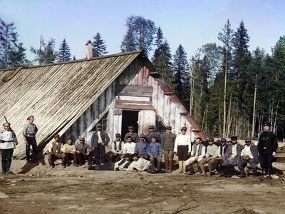 Austro-Hungarian Prisoners of War Near a Barracks, Karelia, Russia, Wwi, 1915