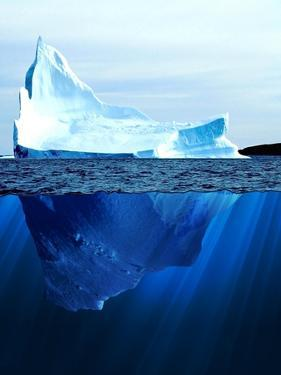 A Large Iceberg in the Cold Blue Cold Water. Collage by Sergey Nivens