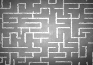 Close Up of Hand Drawn Maze on Blackboard by Sergey Nivens