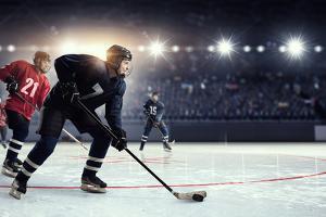 Hockey Match at Rink  . Mixed Media by Sergey Nivens