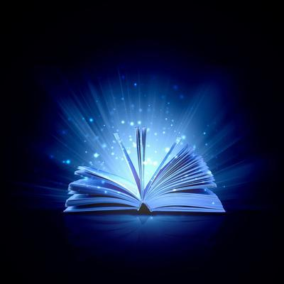 Image of Opened Magic Book with Magic Lights