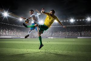 Soccer Players Fighting for Ball . Mixed Media by Sergey Nivens