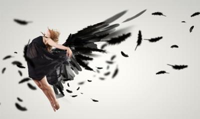 Woman Floating   on Dark Wings by Sergey Nivens