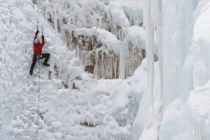 Ice Climbers Scaling Vertical Ice in Ouray Ice Park Near Ouray, Colorado by Sergio Ballivian