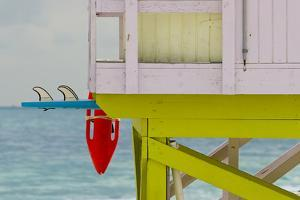 Life Guard Shack in South Beach, Florida with Surfboard and Float by Sergio Ballivian