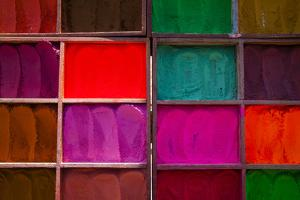 Trays of Multi-Colored Dyes at the Entrance to the Pashupatinath Temple Near Kathmandu, Nepal by Sergio Ballivian