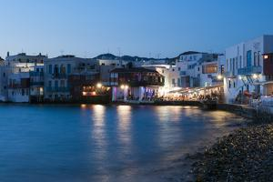 A Night View of the Little Venice Neighborhood on the Coast of the Aegean Sea by Sergio Pitamitz