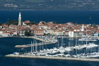 An elevated view of the town of Isola overlooking Adriatic Sea, Isola, Slovenia, Europe by Sergio Pitamitz