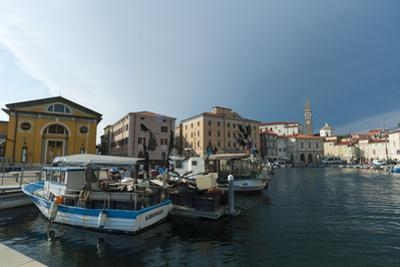 Buildings on the harbour of Piran, Slovenia, Europe by Sergio Pitamitz