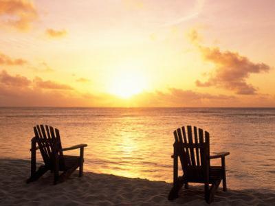 Empty Beach Chairs at Sunset, Denis Island, Seychelles by Sergio Pitamitz