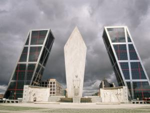 Kio Towers and Monument to the Discoverers at Castilla Square, Madrid, Spain, Europe by Sergio Pitamitz