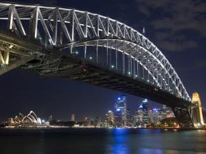 Opera House and Harbour Bridge at Night, Sydney, New South Wales, Australia, Pacific by Sergio Pitamitz
