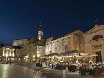 Tartini square at dusk, Piran, Slovenia, Europe by Sergio Pitamitz