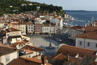 View from above of the Tartini Square, Piran, Slovenia, Europe by Sergio Pitamitz