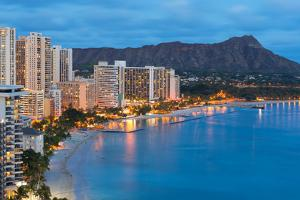 Honolulu City and Waikiki Beach at Night by SergiyN