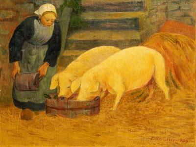 A Young Girl Feeding Two Pigs, 1889